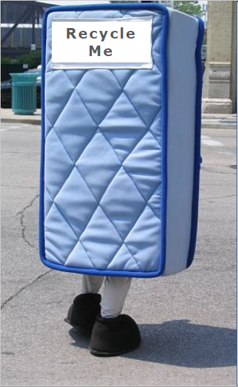 Recycle Me Mattress Costume Mascot